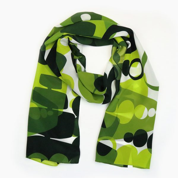 Jennie Jackson, Long Silk scarf in Green Topiary inspired design