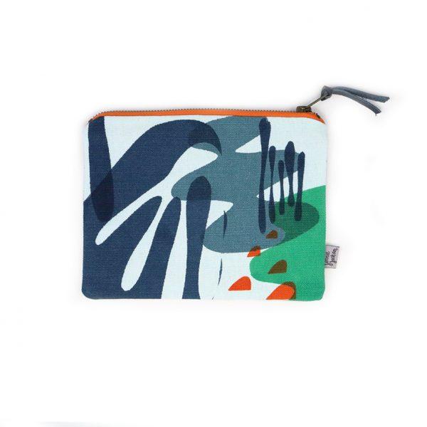 Jennie Jackson, Mangrove designsmall cosmetics zipped bag hand printed on linen