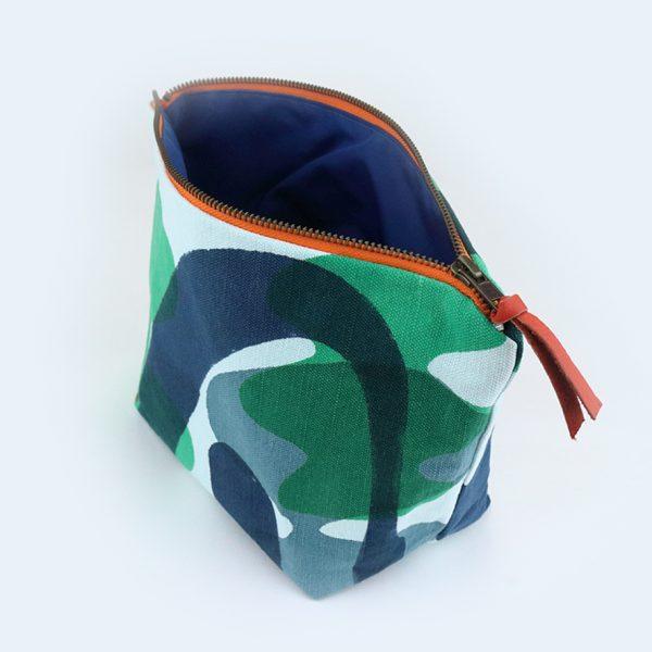 Jennie Jackson, Mangrove design washbag bag hand printed on linen