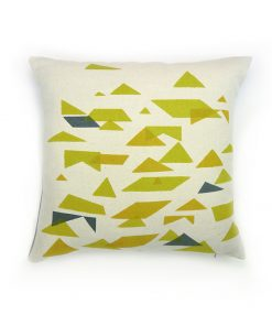 Jennie Jackson, St Ives design square cushion hand printed on linen