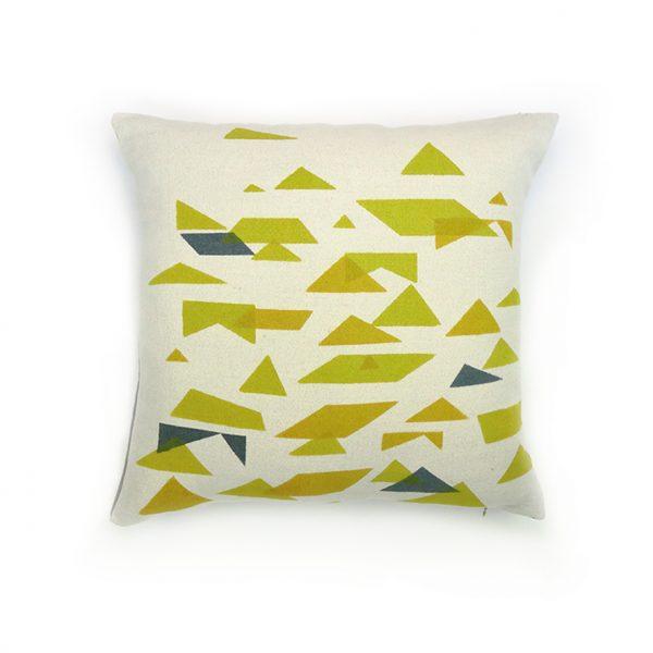 Jennie Jackson, St Ives design square cushion hand printed on linen