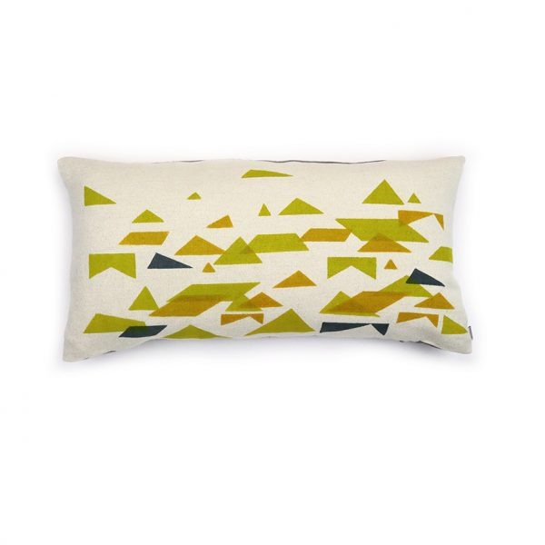 Jennie Jackson, St Ives design long cushion hand printed on linen